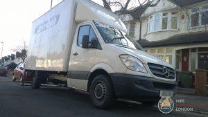 Parked man and van vehicle